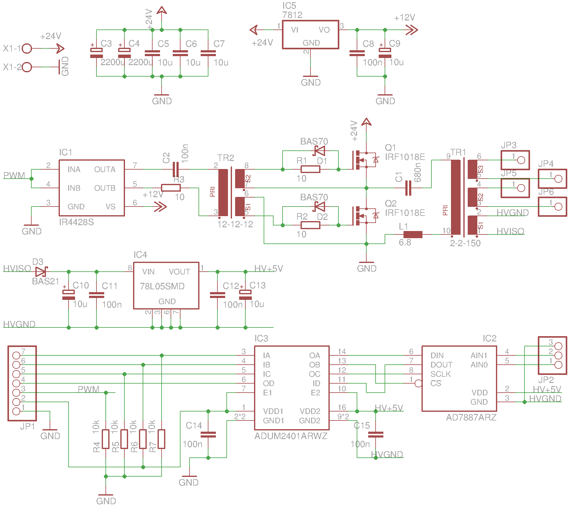 50w Lc Resonant Converter Power Board V1 Whitequarks Lab Notebook Design The Utilizes A Half Bridge Based On Irf1018e Mosfets Q1 And Q2 Driven Using An Irf4428 Driver Ic2 Via Gate Drive Transformer Tr2